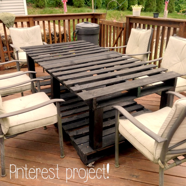 pinterest project pallet table. Black Bedroom Furniture Sets. Home Design Ideas